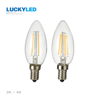 Led Filament Bulb Vintage Edison C35 E14 2W 4W AC220V 110V Clear Glass Shell 360 Degree