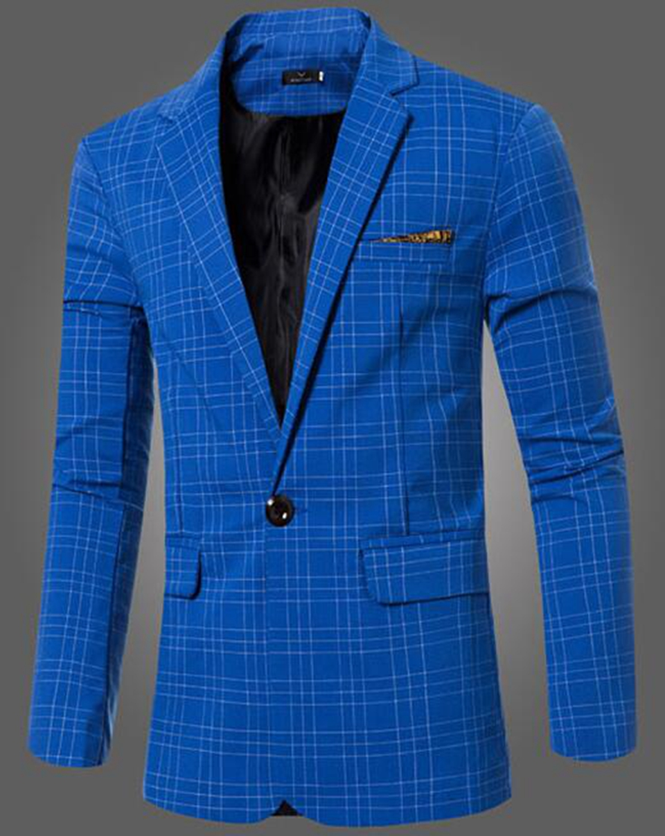 Europe and the United States the new boutique han edition men winter checked suit jacket high-end business big yards 254 / M-3XL
