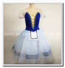 Adult Ballet Dresses Romantic Long Skirt Girls White Soft Tulle Child Size Available Dark Blue Color Spandex Fabric SB0202