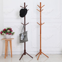 Creative Wood Hanger Floor Stand Coat Rack Living Room Furniture Clothing Rack Wooden Clothes Hanging Rack With 9 Hooks