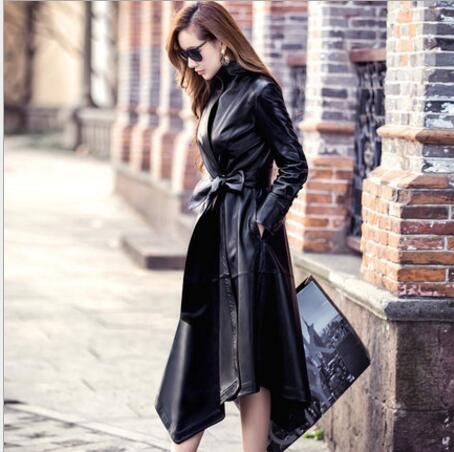 Very good quality Ladies Slim Long   Leather   Trench Coat 2017 new style women motorcycle   leather   coats long   leather   jacket women