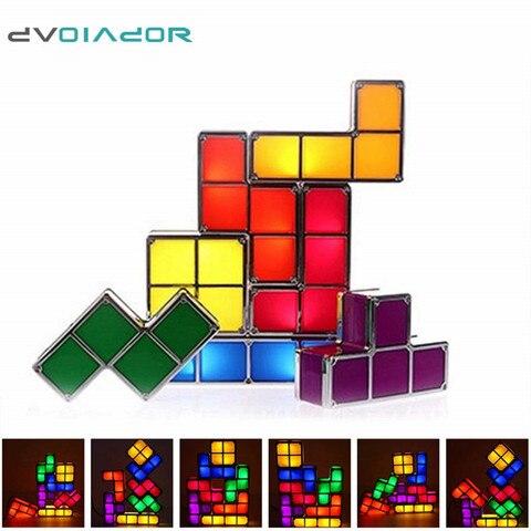 diy tetris quebra cabeca luz empilhavel led lampada de mesa bloco constructible luz da noite