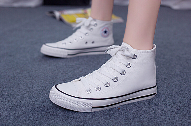Качество базовых моделей высокого верха обуви холст KUANGWANG Женщины ботинки Высокой моды для плоской обуви