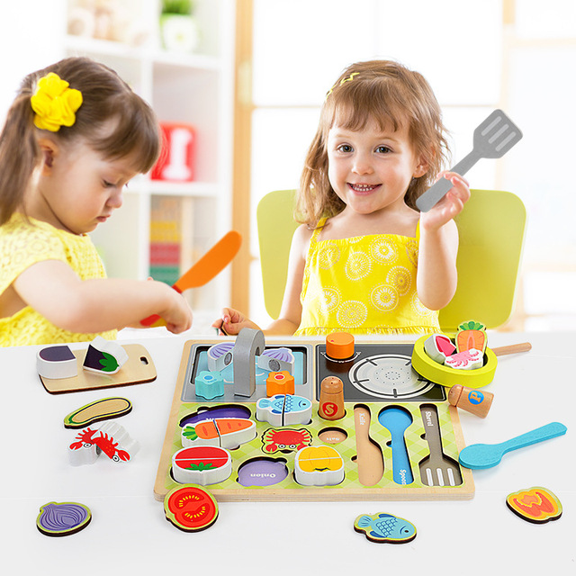 New Style Pretend Play Wooden Kitchen Toys Puzzle Cutting Fruit Vegetable Animal Food Game Toy for Children With Gift Box E901