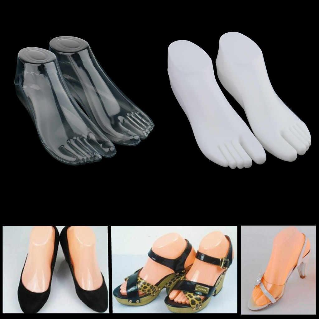 2Pair 플라스틱 여성 여성 피트 마네킹 끈 스타일 발 모델 신발 샌들 양말 Anckle 체인 발가락 반지 디스플레이