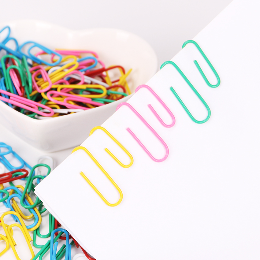 80PCS 28mm Colorful Rainbow Paper Clips Metal Plastic New Ticket Holder Stationery Memo Bookmark Paper Clip