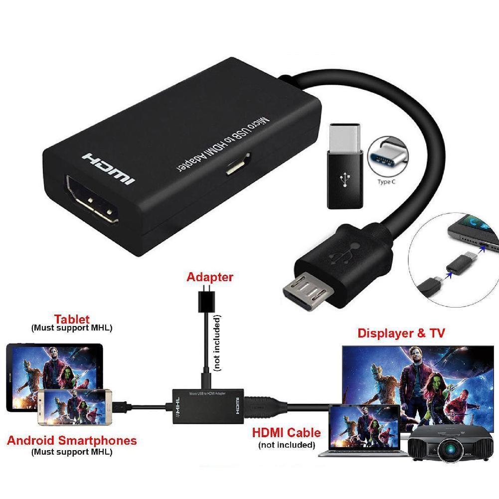마이크로 usb 유형 c hdmi 어댑터 케이블 mirco usb hdmi hd 변환 케이블 휴대 전화 태블릿 pc 및 기타 장치