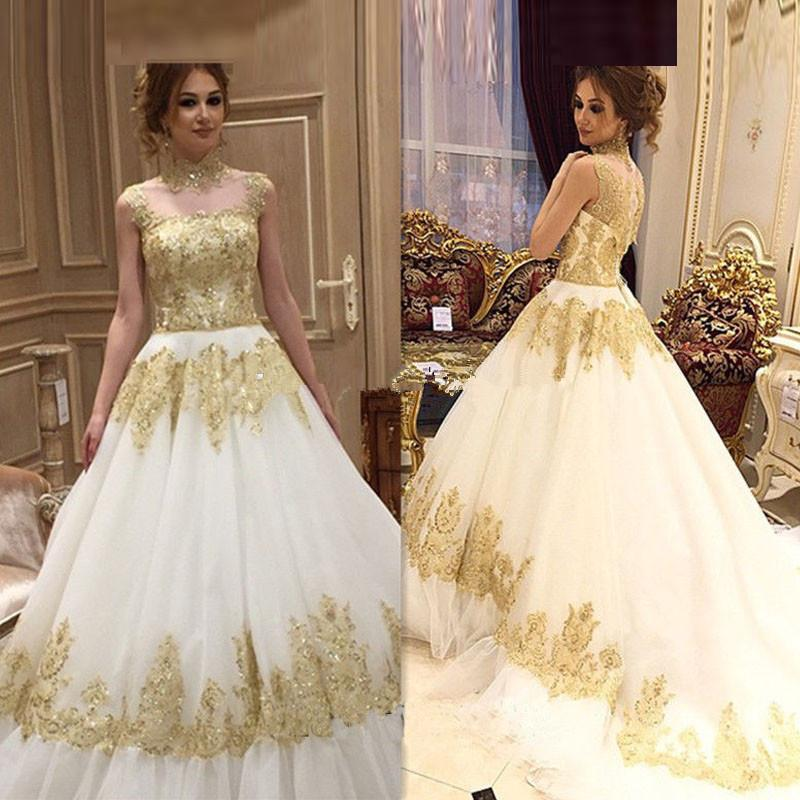 2017 New Design White And Gold Wedding Dress A Line Liques Y Gowns Plus Size Vestidos De Novia Robe Mariage In Dresses From
