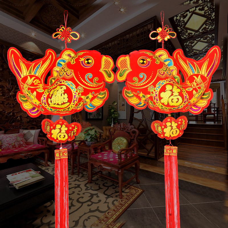 2019 Chinese New Year Lucky Knot Pendant Living Room Fish ...