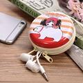 4 Colores Caso Duro de Auriculares Portátil Linda Chica de Dibujos Animados Mini Auriculares Bolsa de Transporte 1 Unids