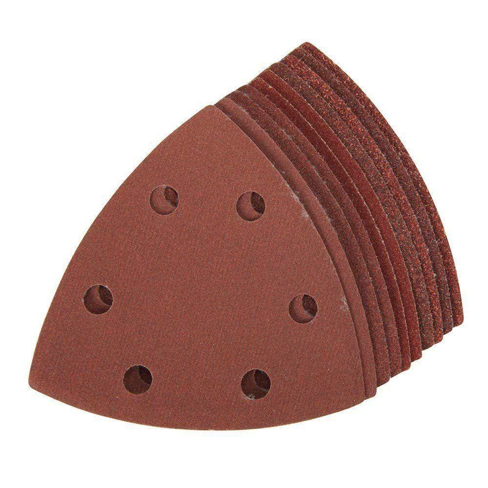 10x Nylon DeltSand Paper Pads  90mm Triangles  40, 60, 80, 100 & 120 Grit Sanding Sheets