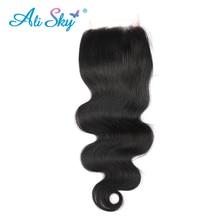 [Ali Sky]Free Part Lace Closure 4*4 Brazilian Body Wave Virgin Hair Swiss Lace 120% Density Human Hair 1pc 8-20 Inch black 1b