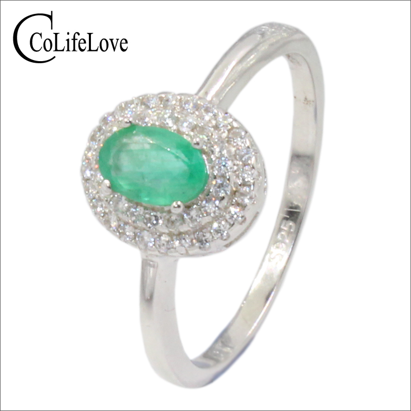 Elegant silver emerald ring for engagement 4 mm 6 mm natural SI grade emerald silver ring