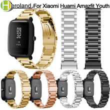 цена на 20mm Bracelet Wrist Band for Amazfit Steel Belt Strap for Xiaomi Huami Amazfit Bip Youth Smart Watch Strap Metal Stainless Steel