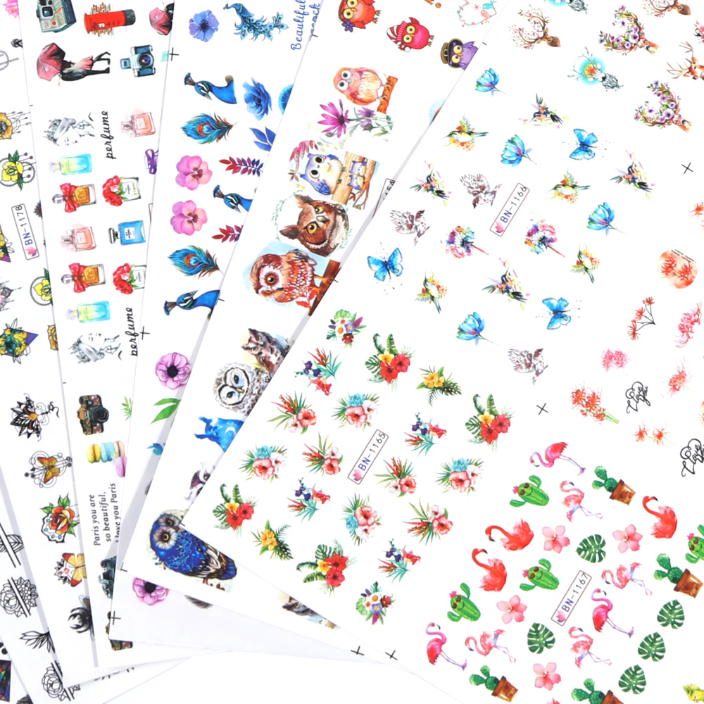 Nail Stickers Cat Flowers Flamingo Animal Water Transfer Decals Tattoo Decoration Foils Wraps Manicure Accessories (4)