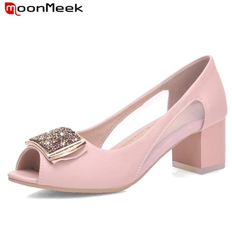 ФОТО MoonMeek Med heels 4.5cm woman shoes pumps peep toe big size 31-43 wedding shoes party elegant shallow single shoes