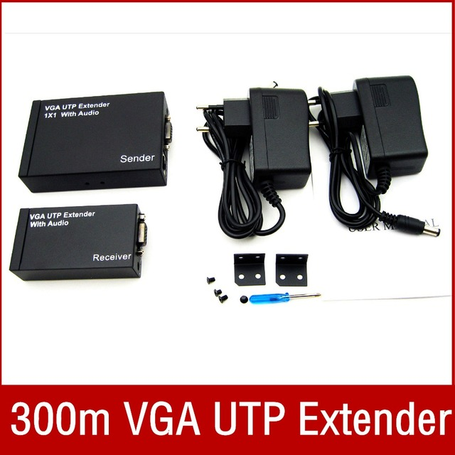 2 port VGA extender splitter By cat5e/6 up to 300M(VGA loop+Ethernet port) VGA audio video extender splitter