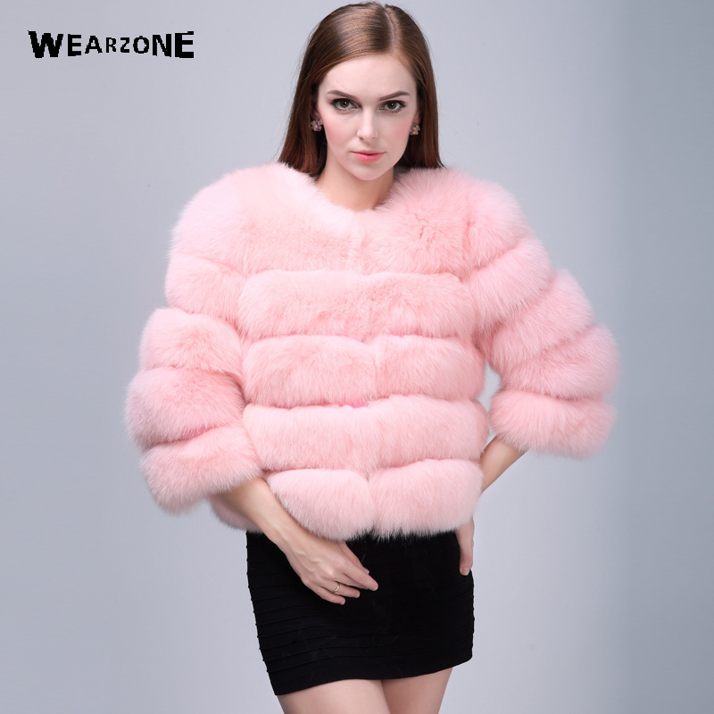 2017 Autumn Winter Three Quarter Faux Fur coat warm Faux Silver Fox Fur coat outerwear women's fashion imitation Short fur coat pearl beading textured faux fur coat