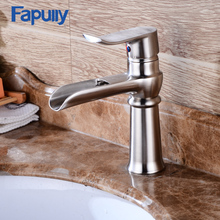 Fapully basin faucet stainless steel washing bathroom waterfall