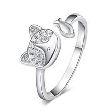 Jansun Öffnen Katze Silber Ringe 100% Garantiert Echte 925 Sterling Silber Schmuck Ring YH4649