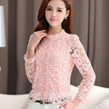 Blusas de Frio Chiffon Lace Blusas Female 2017 Embroidered Long Sleeve Single-breasted Cardigan Shirt Short Floral Tops L957