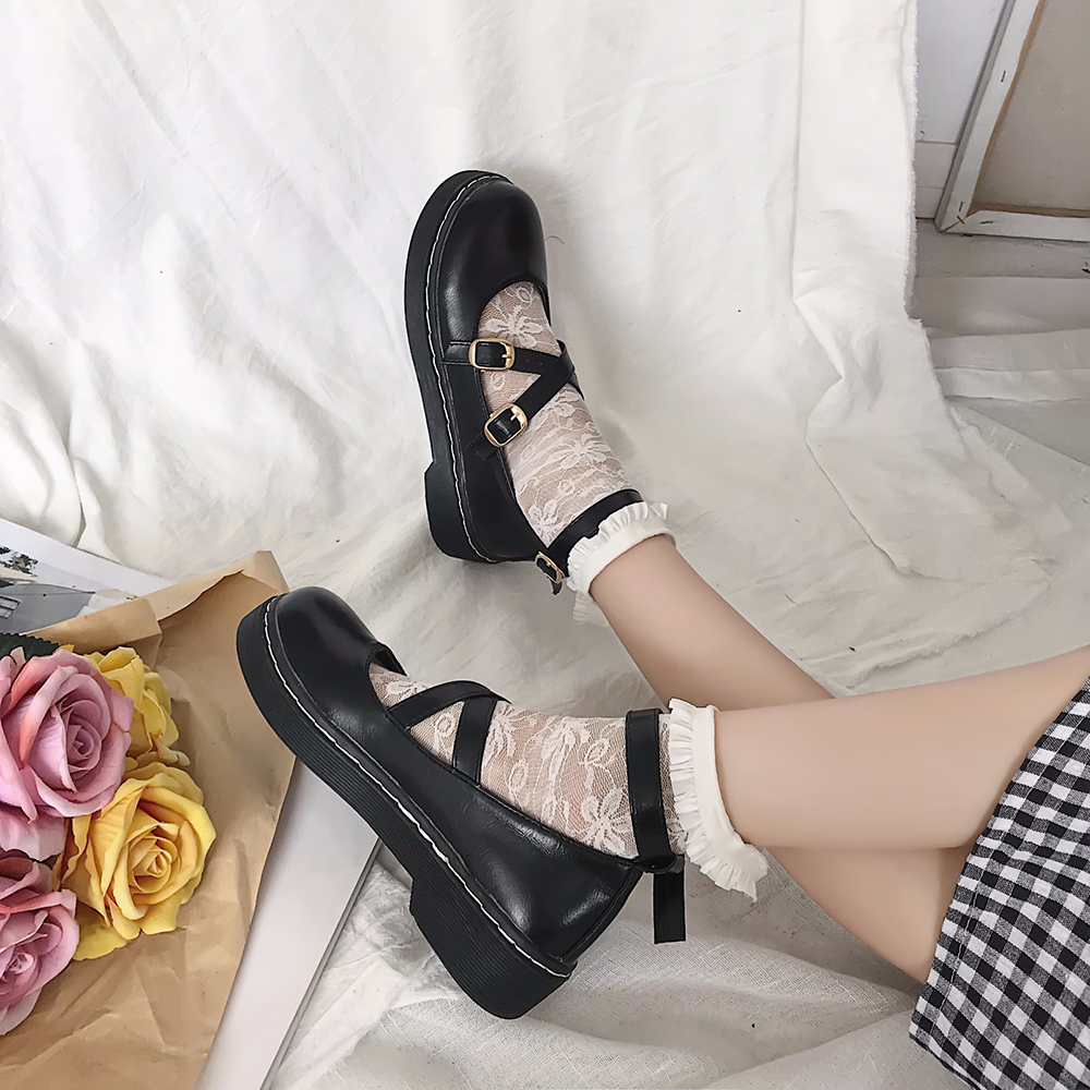 Round Toe Shoes Japanese Student Lolita Mori Girl Shoes Uniform Shoes PU Leather Ankle-Strap Flatform Mary Jane Shoes