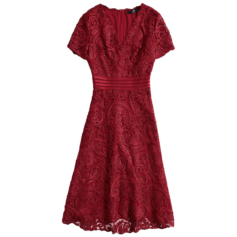 PIXY Purple V Neck Lace Wrap Dress Women High Waist Summer Midi za Dresses Elegant Ladies Tunic vestidos Blue sukienka Red ddlg in Dresses from Women 39 s Clothing