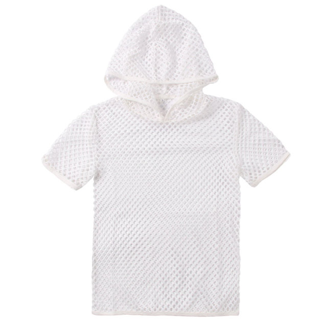 Men's Sexy Mesh See Through Hooded T Shirt 2018 Fashion Short Sleeve Fishnet Hoodies T Shirts Men Hipster Nightclub Wear T-shirt