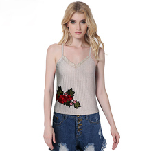 Bralette Tops Women 2017 Summer embroidery Solid Camisole Sexy Brandy Melville Sleeveless Strap Lace Tank Top women bustier