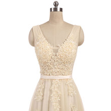 New arrival elegant champagne  wedding dress Vestido de Festa appliques zipper A-line dress sweep train bow dress lace style