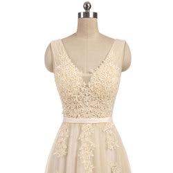 New arrival elegant champagne  wedding dress Vestido de Festa appliques zipper A-line dress sweep train bow dress lace style 4