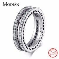 Modian Herfst Nieuwe Stijl Classic Real 925 Sterling Zilver Dubbele Harten Ring Liefde stapelbaar Vinger Bruiloft Sieraden Voor Vrouwen Gift