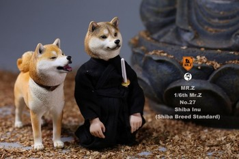 1/6 Scale Working Dog Model Japanese Shiba Inu with Two Replaceable Heads Collar Pulling Rope for 12 inches Action Figure Access