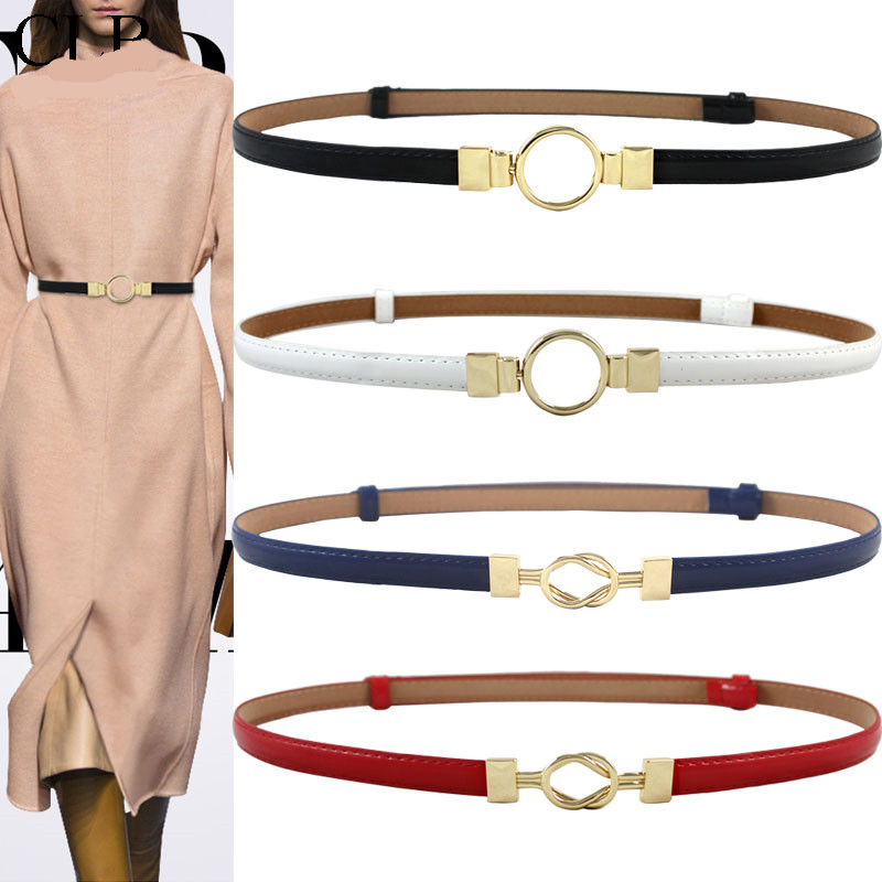 HOT Gold buckle   belt   circle buckles thin leather   belts   adjust design red dress decorate   belts   for women fashion chain cummerbund