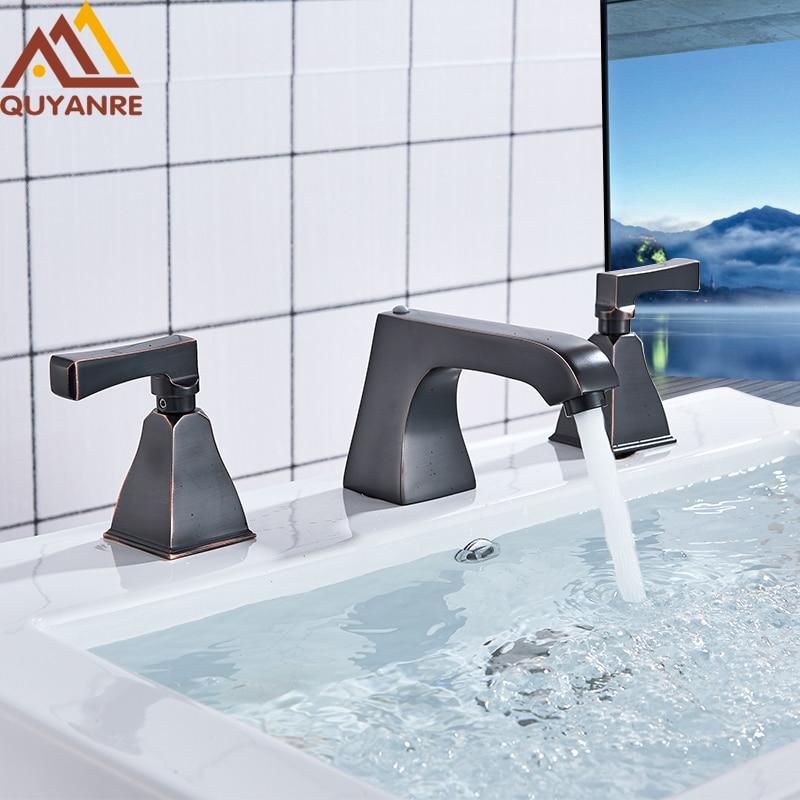 Quyanre Bronze Black Chrome Widespread Faucet Basin Faucet 3 Holes Dual Handles Mixer Tap Deck Mounted Bathroom Faucet torneiras