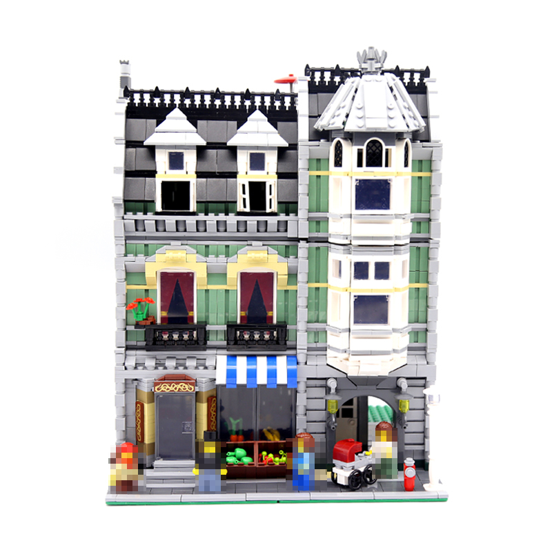 Lepin 15008 2462Pcs City Street Green Grocer Model Building Kits Blocks Bricks Educational Toys Gifts For Kids Compatible 10185 lepin city town city square building blocks sets bricks kids model kids toys for children marvel compatible legoe