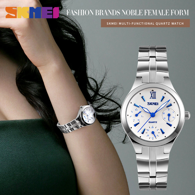 SKMEI Quartz Watches Women Complete Calendar 30M Water Resistant Dress Watch Full Stainless Steel Band Lady Wristwatches 9132