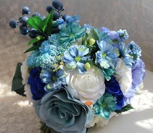 Image 2 - Buquê artificial de casamento, noiva azul, acessórios de noiva, flores de seda bonitas para noiva, 1 peça, frete grátis