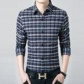 Hombres Plaid Camisas de franela de alta calidad Delgada de Manga Larga hombre camisa de vestir de negocios de marca formal clothing hombre homme invierno cálido 333