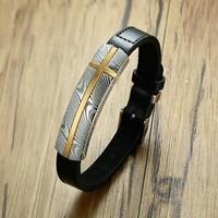 Unique Damascus Steel Textured Cross Bracelet Men Stylish Black Genuine Leather Male Bangle Size Adjustable Accessories
