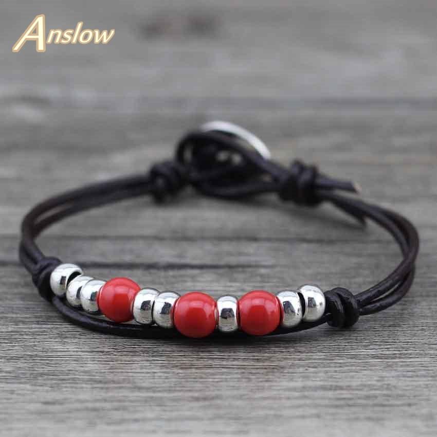 Anslow joyería de moda al por mayor DIY hecho a mano Wrap cuerda pulsera de cuero para mujeres hombres niñas ajustable LOW0390LB