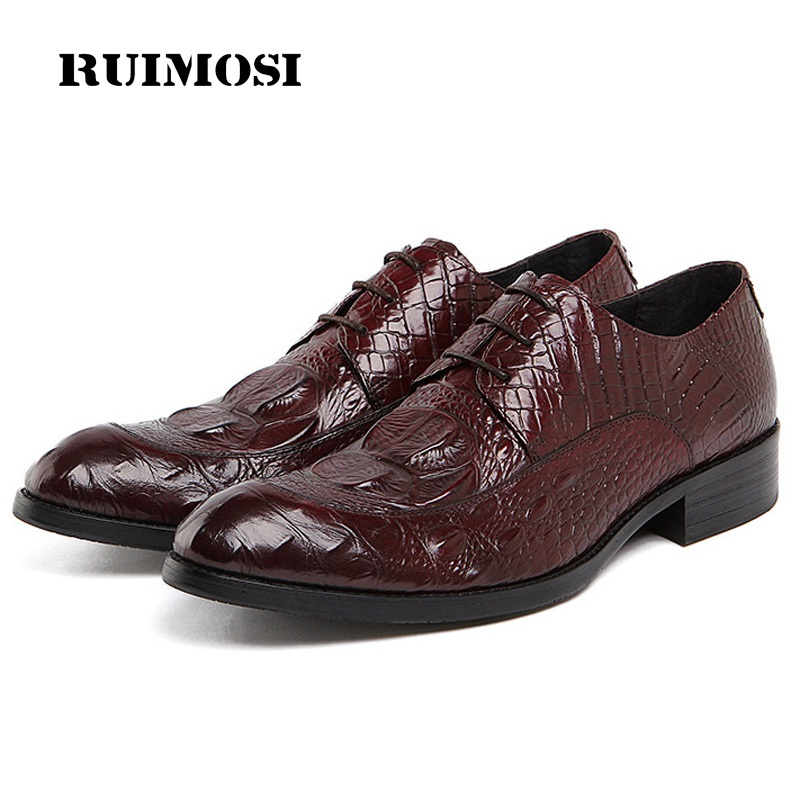 RUIMOSI Crocodile Formal Man Dress Shoes Genuine Leather Designer Oxfords Luxury Derby Men's Wedding Footwear For Male FD18