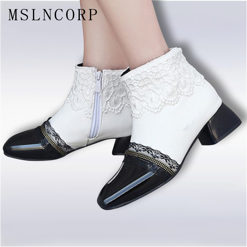 Plus Size 34-43 New Women Boots Fashion Patent Leather Square Toe Ankle Boots Sexy Lace Cuff Ladies High Heels Shoes Woman Mujer enmayla retro winter high heels ankle boots women nubuck charms shoes woman sexy red boots med heels square toe boots size 34 43