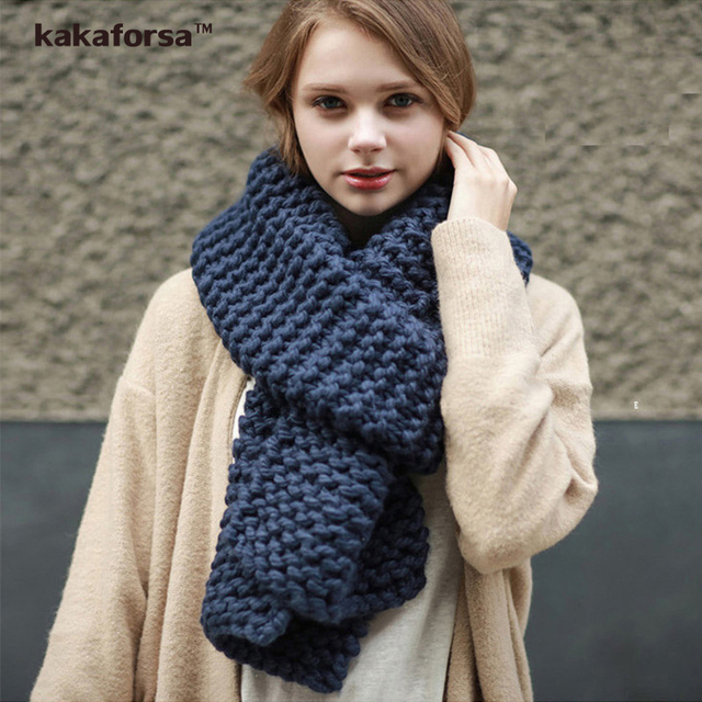 Fashion Women Winter Warm Long Scarves High Collar Thickened Soft Solid Scarf European and American Style Warp Knitting Wraps
