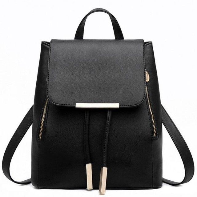 Черный школьный аксессуары для рюкзака Женский PU кожаный рюкзак японский уличный мешок женская школьная сумка для подростков девочек рюкзаки