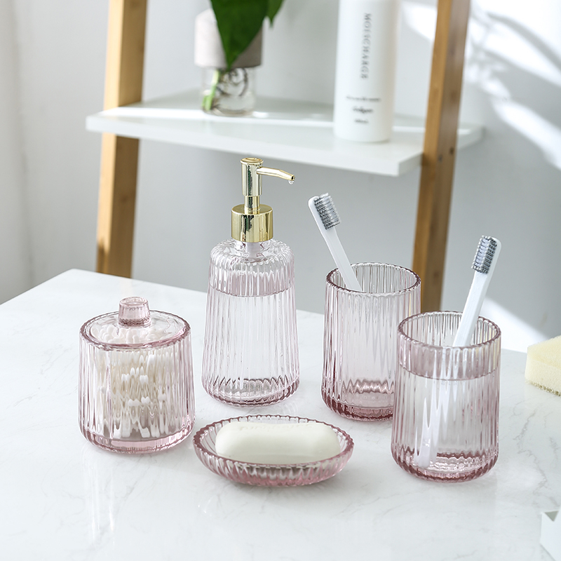 Bathroom 5pcs Rose gold Glass+Brass Bath Accessory Set Soap Dispenser Dish