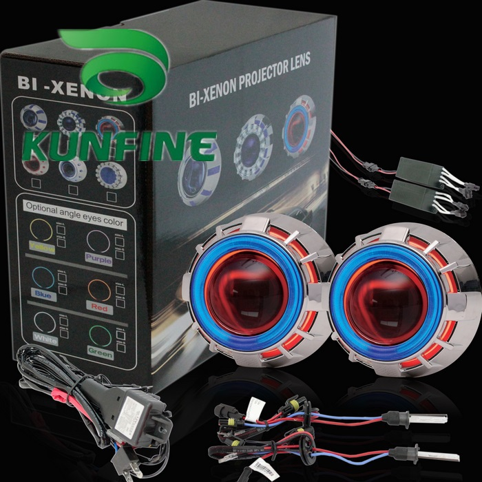 Car Bi-Xenon HID Projector Lens Kit with Double angel eyes include HID bulb For car headlight high low beam 14 months warranty new m803 2 5 car motorcycle universal headlights hid bi xenon projector kit and m803 hid projector lens for free shipping