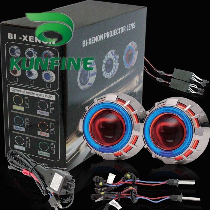 Kit de lentille de projecteur HID bi-xénon de voiture avec deux yeux d'ange inclus ampoule HID pour phare de voiture feux de croisement 14 mois de garantie