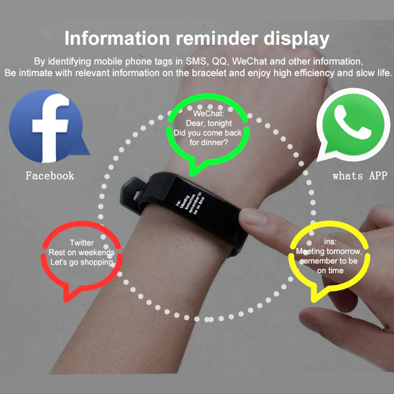 LIGE Sport Smart Bracelet IP67 Waterproof Fitness tracker Heart Rate Blood Pressure Monitor Smart Wristband bluetooth Bracelet in Smart Wristbands from Consumer Electronics