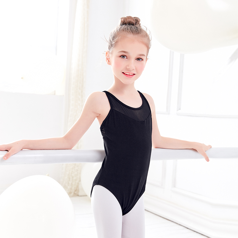 US Girls Spaghetti Strap Ballet Dance Leotards Gymnastics Mesh Bodysuit Costumes